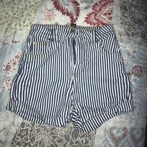 Blue and white striped high waisted shorts